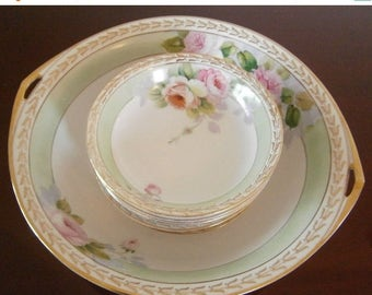 Sale 20 Off Berry Bowl Set Serving Porcelain NIPPON Roses MARUKI Rare mothers day