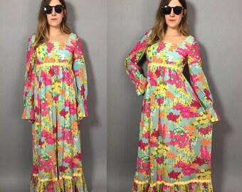 Vintage Floral Maxi Dress / 1960s Boho Dress / Boho Maxi Dress / Long Hippie Dress / Boho Hippie Dress / Boho Dress Small / Lilly Pulitzer