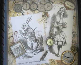 """Steampunk Alice in Wonderland shadow box collage.  Entitled, """"Rabbit is too Late to Save Alice from Herself.""""  9"""" square by 2"""" deep."""