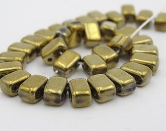 Crystal Aurum CzechMates Bead 4x6mm Two Hole Brick  50 Pieces