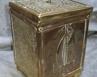 Antique REPOUSSE Brass TEA CADDY with Celtic Pattern and Pictorial Ship at Sea