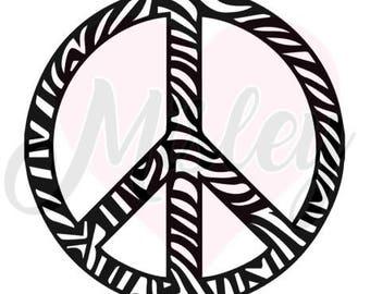 Zebra Peace Sign SVG & PNG Cut File for Silhouette Cameo/Portrait and Cricut Explore DIY Craft Cutters