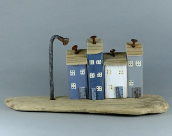 Tactile smooth Natural Driftwood and Four Little Houses # 550