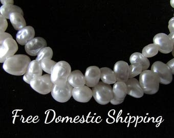Faux Pearl Necklace, Baroque Pearl Necklace, Vintage Pearl Necklace, Multi-strand Pearl Necklace, White Pearl Necklace, Free US Shipping