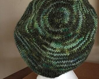 woman's hand knit hat, slouchy hat, green hat, wool hat, beanie