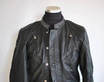 Vintage HARRO LEATHER BIKER jacket , women's leather biker jacket ...........(332)