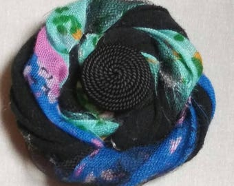Shappy Chic Rosette - Black,Green,Blue,Purple,Tulle and Textured Black Button