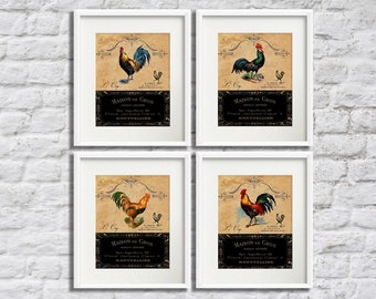 Le Coq - 4 Print Set, 5x7 Art Prints, French Country Roosters, Old World Style Farmhouse Kitchen Decor, Dining Room Art, French Roosters Art