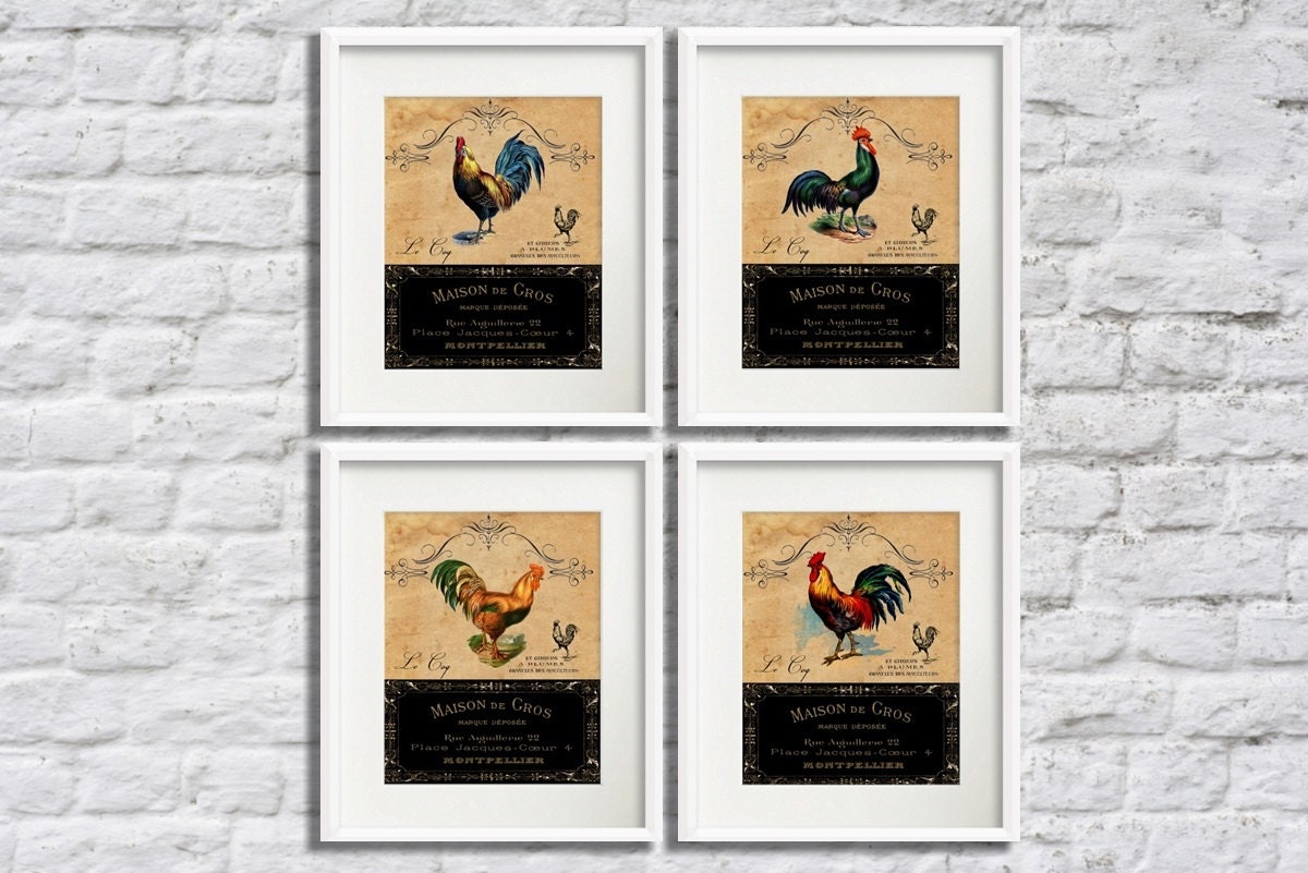 french country decor wall art set rooster kitchen wall art set. Black Bedroom Furniture Sets. Home Design Ideas