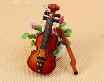 Miniature Wood 1/12  Violin Dollhouse  diy doll