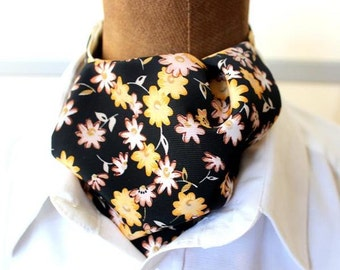 ascot,mens ascot,scarf,black-yellow,flowers