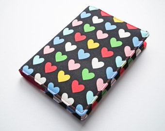 A6 Notebook Cover, Fabric Book Cover, Diary Cover, Planner Cover, Removable Book Cover, Hearts, Valentine, Love, Free UK Shipping, UK Seller