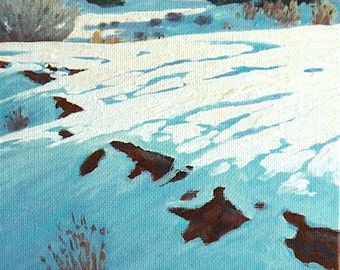 Winter 'Snowbound' - original oil painting - winter landscape - snow painting - turquoise - square - 6x6 - plein air - oil