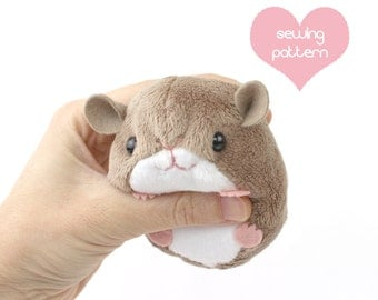 "PDF sewing pattern - plush hamster mouse rat guinea pig rodent stuffed animal - kawaii plushie 4"" chinchilla bunny rabbit gerbil lemming"