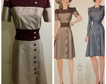 1940s TwoTone Dress