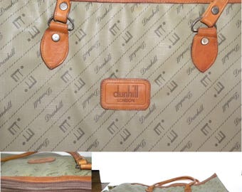 "VINTAGE Alfred Dunhill Monogram Attache / Briefcase LOGO / RARE / leather trim / Luxury / 1970s / 18.5"" x 13.5"""