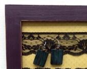 Cadre support à boucles d'oreilles avec dentelle noire prune mauve pour femmes adolescentes filles cadeau mariage shower bijoux organisateur