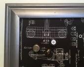 Babillard aimanté recouvert tissu plan d'avion noir argent industrial mémo organisation photo décor mural tableau d'affichage homme masculin