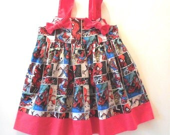 Girls Toddler Baby Girls Spiderman Marvel Comics Super Hero Comic Con Knot Dress Spider Man Sizes 6 Months to Girls Size 6