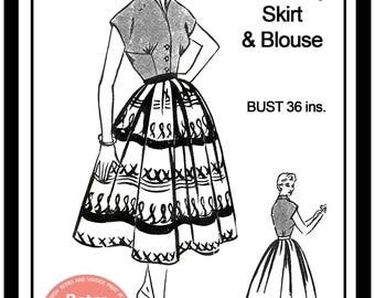 1950s Rockabilly Skirt and Blouse Vintage Sewing Pattern  - Paper Pattern