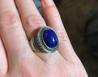 Sterling Silver Lapis Ring, Chunky Lapis Silver Ring, Oval Lapis Vintage Ring, Size 6