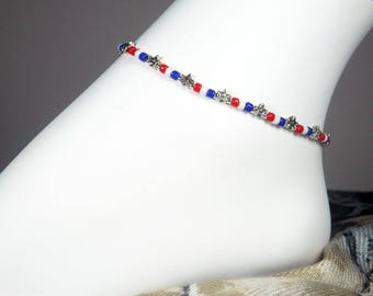 """Seed Bead Ankle Bracelet,  Patriotic Bracelet, Red White and Blue, Beaded Anklet, Girls Size, Plus Size, 7"""", 8"""", 9"""", 10"""", 11"""", 12"""", 13"""
