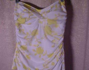 Vintage Yellow and White Bathing Suit, Jantzen, Size 12.       #2265