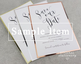 "Modern Typography | Foil/Mirror board Save the Date SAMPLE - ""Beverly"""