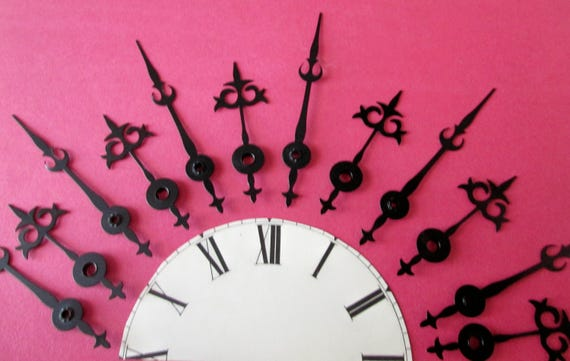 6 Pairs of Vintage Black Steel Gothic Style Clock Hands for your Clock Projects, Jewelry Making, Steampunk Art
