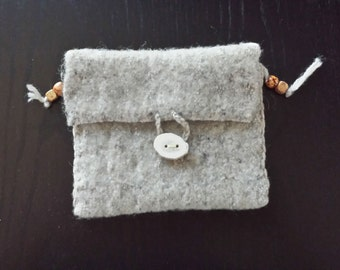 Handwoven Felted Wool Pouch with Horn Button Grey