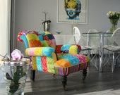 Antique style Patchwork Armchair Designers Guild Fabric