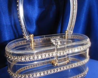 VINTAGE Clear Lucite Purse Embellished with Three Rows of Silver Beads and Rhinestones!