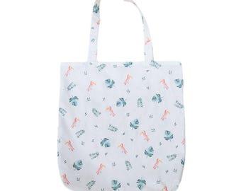 Bag Tote Bag Toucan and Monstera - Watercolor - Exotic - Tropical - Handmade in France