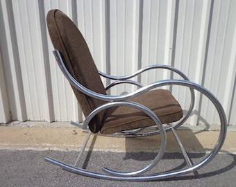 mid century modern chrome bentwood inspired rocker armchair rocking chair mcm milo baughman inspired armchair midcentury