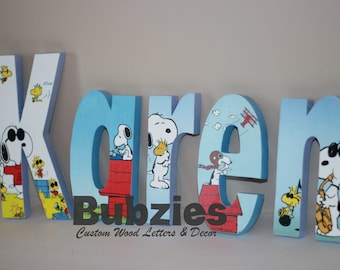 Snoopy and Woodstock Free Standing Custom Wood Letters