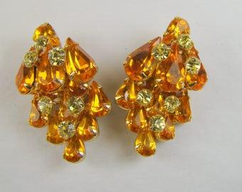 Blazing Kramer of N.Y. Orange and Yellow Rhinestone Clip On Earrings