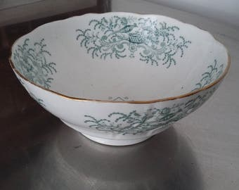Large Green and White Victorian Serving Fruit Bowl Pheasant
