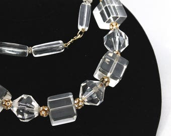 1940s LUCITE, Gold and Rhinestone Geometric Crystal Long Necklace