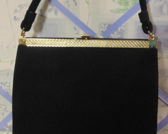 1950 Black Lewis Purse, Mirror Included