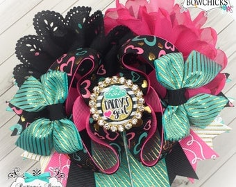 Daddy's Girl OTT Hair Bow ~ Stacked Boutique Bow ~ Over the top hairbows