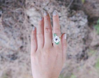 Anemone Ring , Flower Ring , Handpainted GOODAFTERNINE