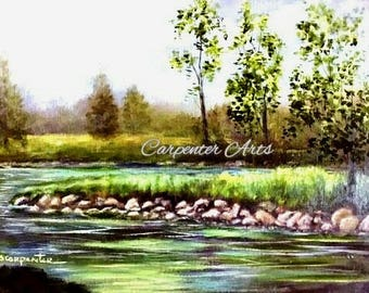 River Stream Oil Painting