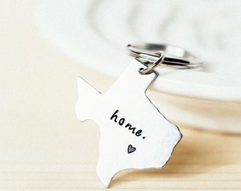 State Keychain ANY STATE, with Custom Phrase - Long Distance Relationship Keychain, Texas, Pennsylvania, Ohio, New York, Califirnia, Florida