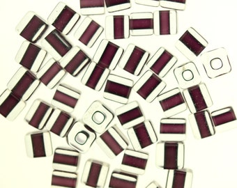 Furnace Glass Beads, 49 Rich Plum cubes medium size  # 10