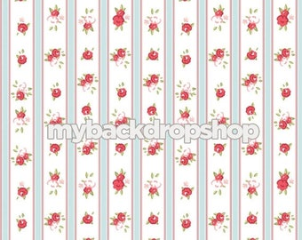 7ft x 7ft White and Blue Striped Floral Wallpaper Photography Backdrop - Red Rose Flower Photo Prop - Stripe Photo Backdrop - Item 3162