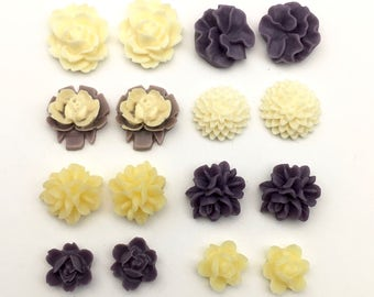 16 pcs resin cabochon flowers ,14mm to 22mm#FL066