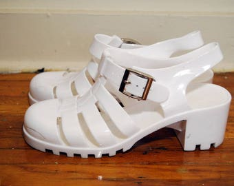 vintage JELLY SHOES (5) heel 90s SLINGBACK grunge club kid cutout buckle sandal soft nu gothic goth pastel summer cut out cyber digital rave
