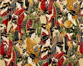 Metallic Japanese Fabric by the Yard, Novelty, Cotton, Quilt, Asian, Gold, Geisha, Imperial, Green, Red, Black, Home Decor, Apparel, Craft