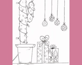 Christmas Coloring page, Cactus Coloring Page for Christmas, Christmas Coloring, Cactus Coloring Printable, Print and Color Cactus