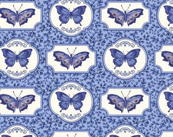 Half Yard Botanical Blues Butterfly Fabric Quilting Cotton Northcott